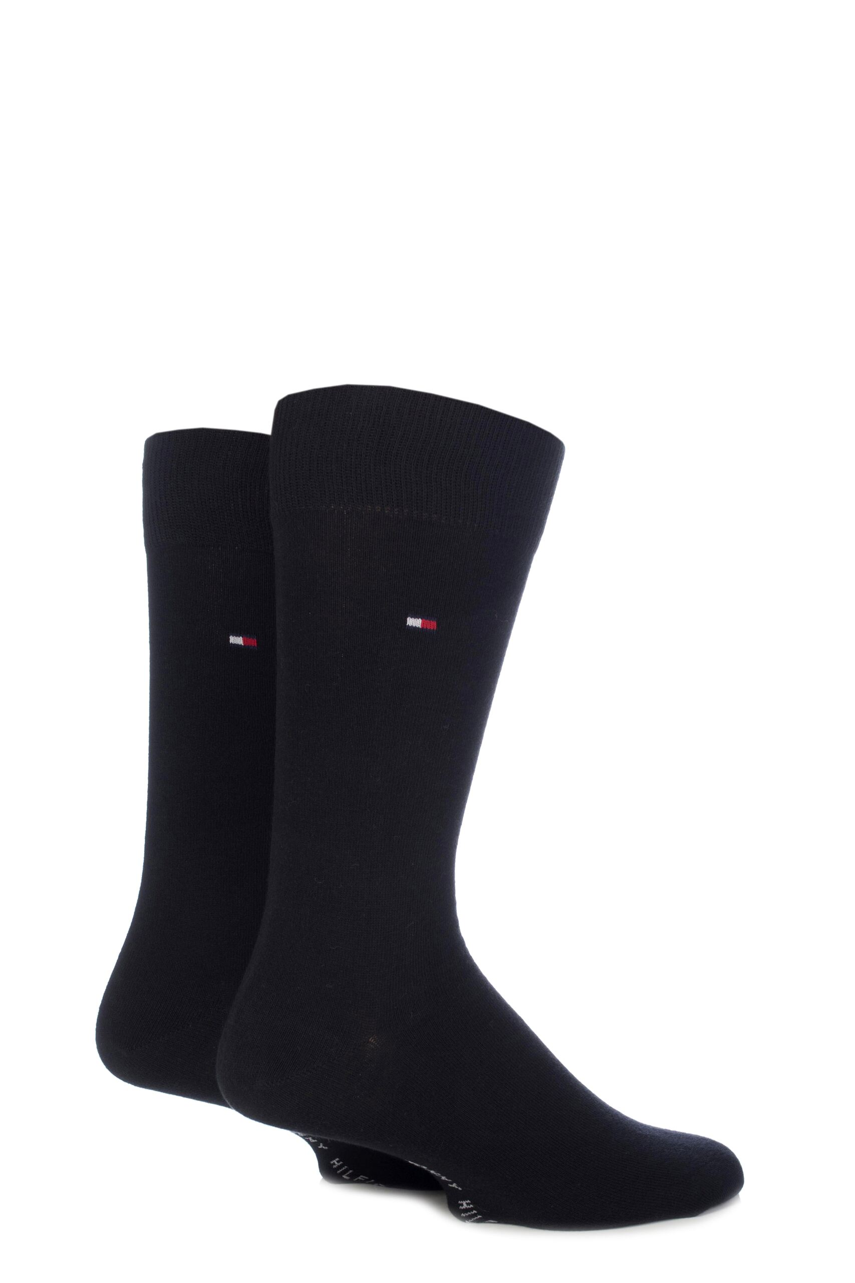 Image of 2 Pair Black Classic Plain Cotton Socks Men's 9-11 Mens - Tommy Hilfiger
