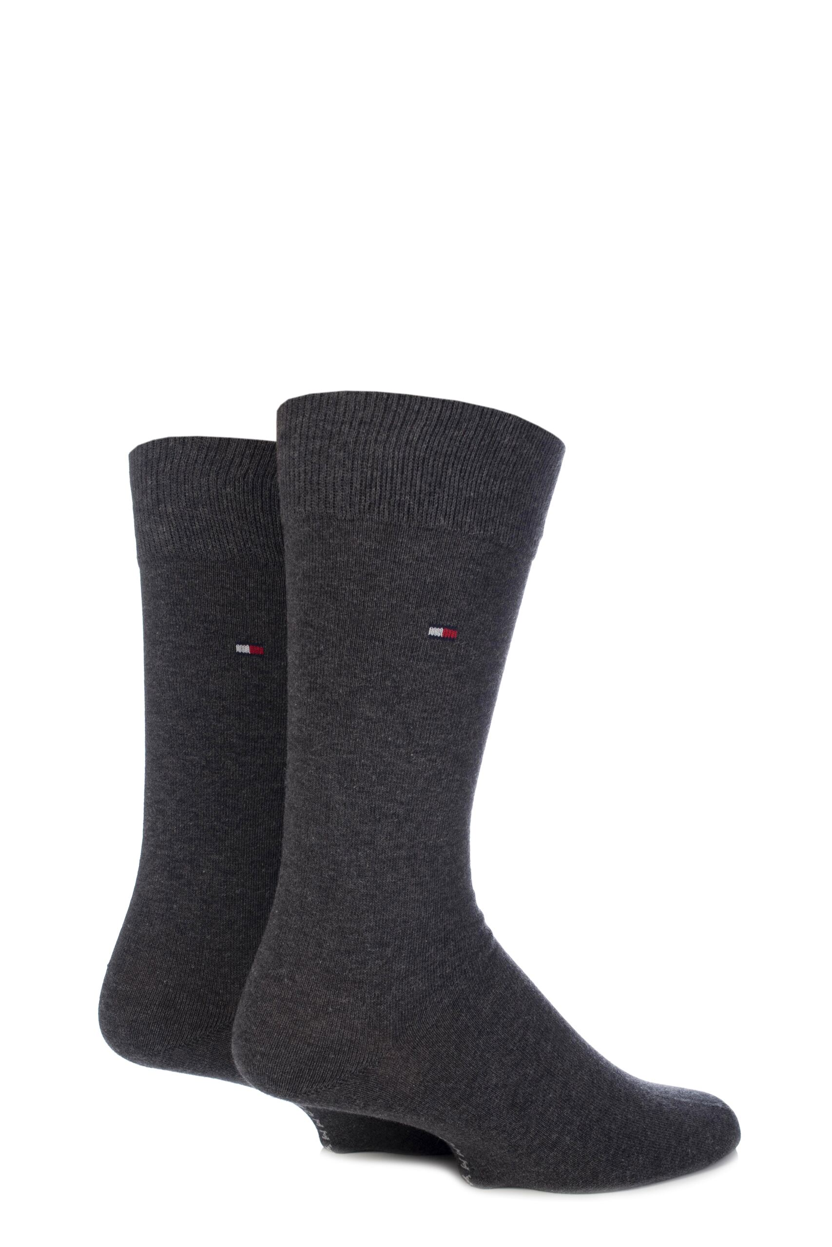 Image of 2 Pair Anthracite Melange Classic Plain Cotton Socks Men's 6-8 Mens - Tommy Hilfiger