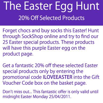 The Easter Egg Hunt at SockShop... 20% Off Selected Products