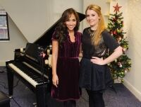 Ella and Myleene model black tights