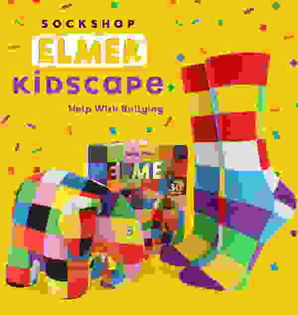 1 Pair Sockshop Friendship Friday With Elmer Patchwork Bamboo Socks >