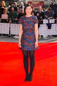 Emma Willis wears dark florals