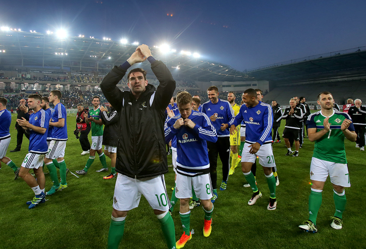 Northern Ireland players during a celebration send-off before the team leaves for France. Niall Carson/PA Wire