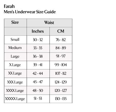 Farah - Men's Underwear Size Guide