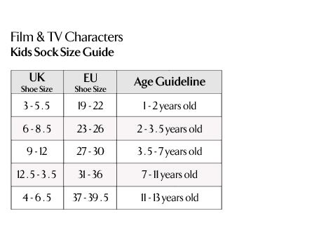 Film & TV Characters - Kids Socks Size Guide