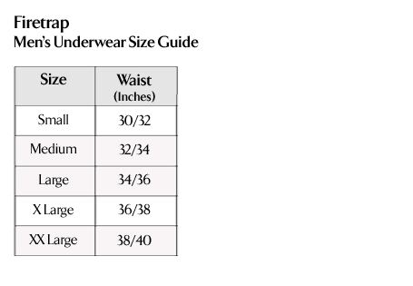 Firetrap - Men's Underwear Size Guide