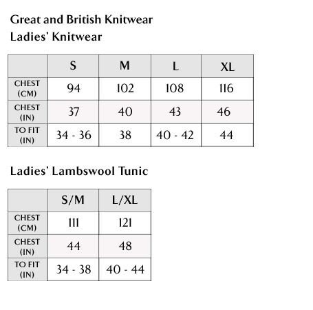 Great and British Knitwear Ladies' Size Guide