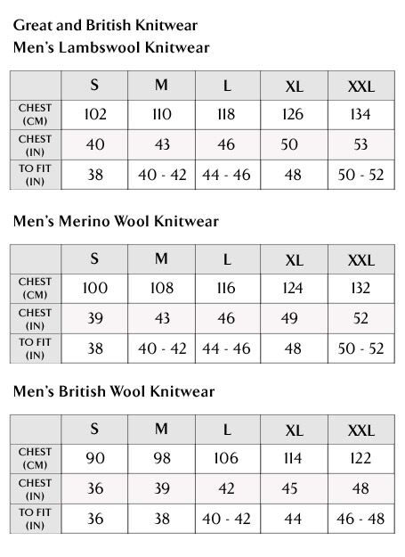 Great and British Knitwear Ladies Size Guide