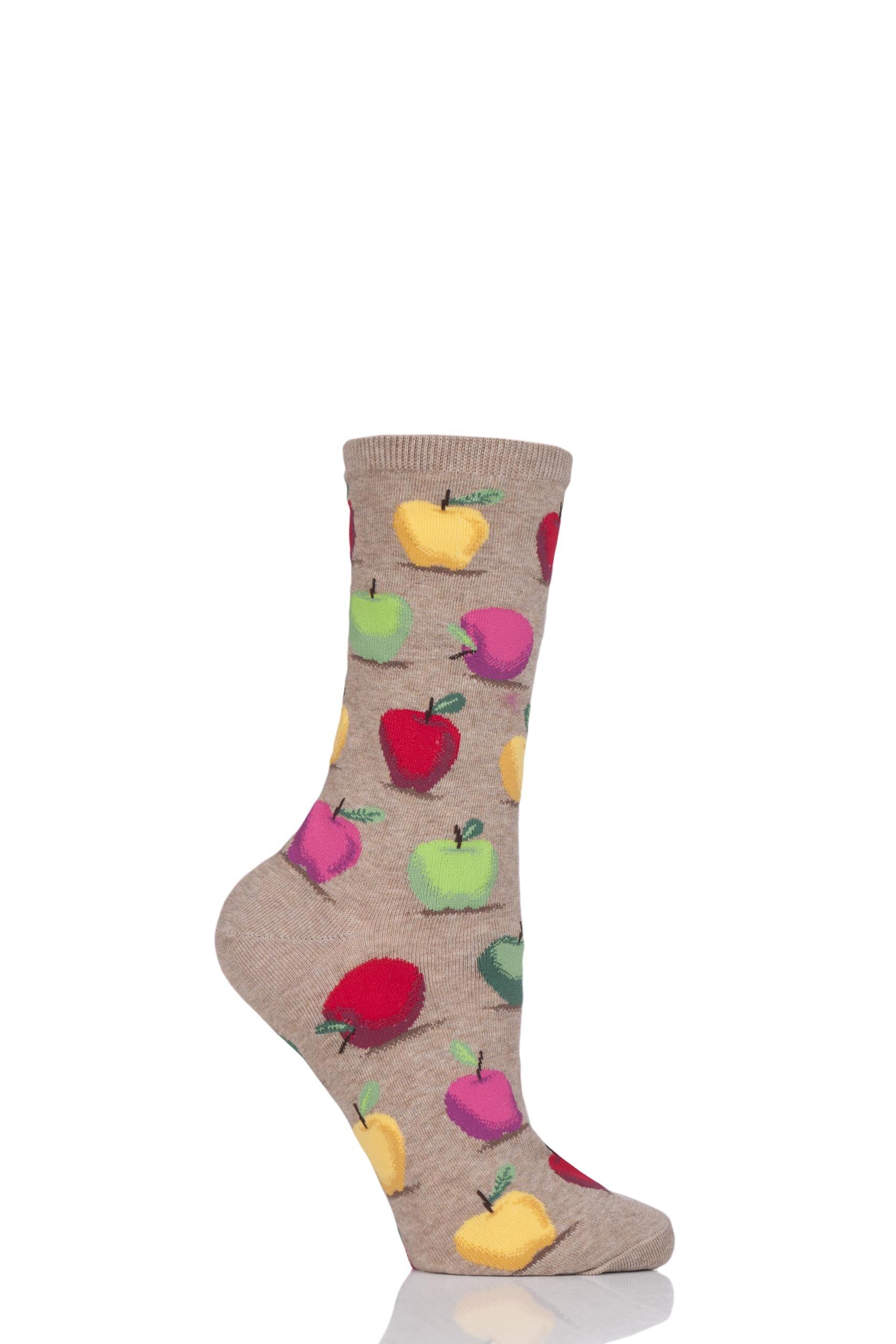 Image of 1 Pair Beige HotSox All Over Apples Cotton Socks Ladies 4-9 Ladies - Hot Sox