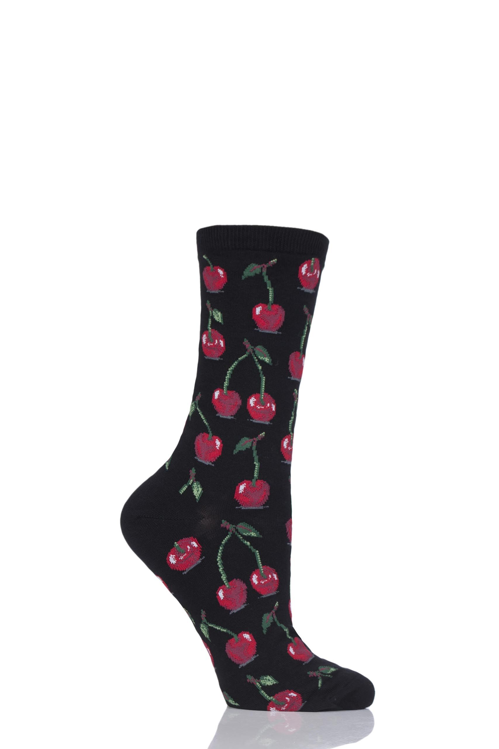 Image of 1 Pair Black HotSox Cherries Cotton Socks Ladies 4-9 Ladies - Hot Sox