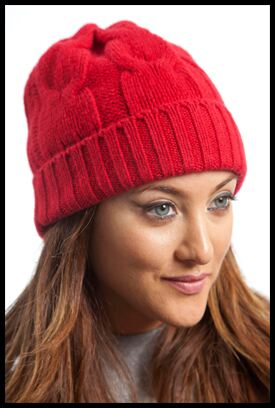 Shop Ladies Hawick Knitwear Touch of Cashmere Chunky Cable Hat In 7 Colours >