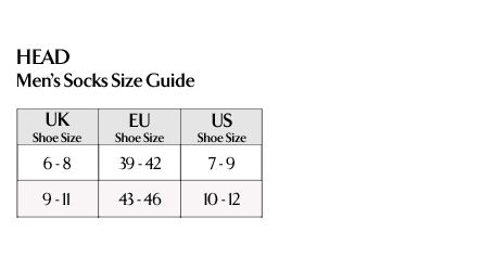 HEAD Men's Socks Size Guide >