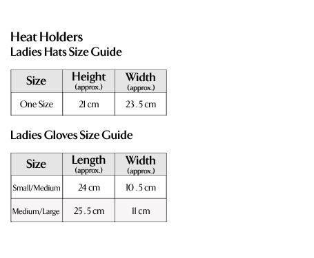Heat Holders - Ladies Hats & Gloves Size Guide