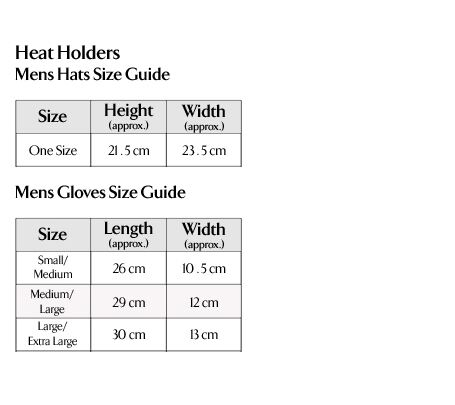 Heat Holders - Men's Hats & Gloves Size Guide