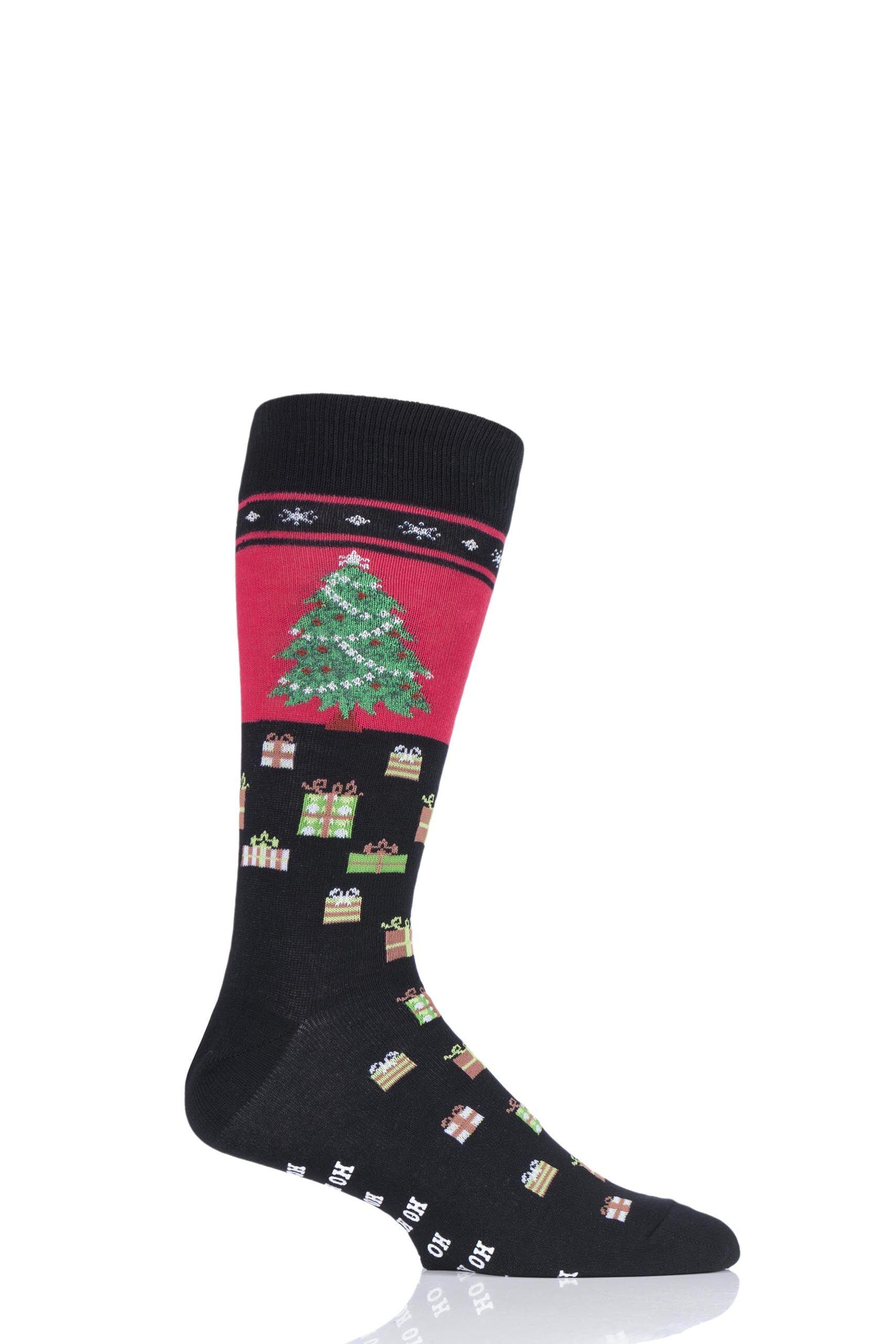 Image of 1 Pair Black HotSox Christmas Tree Cotton Socks Men's 8-12 Mens - Hot Sox