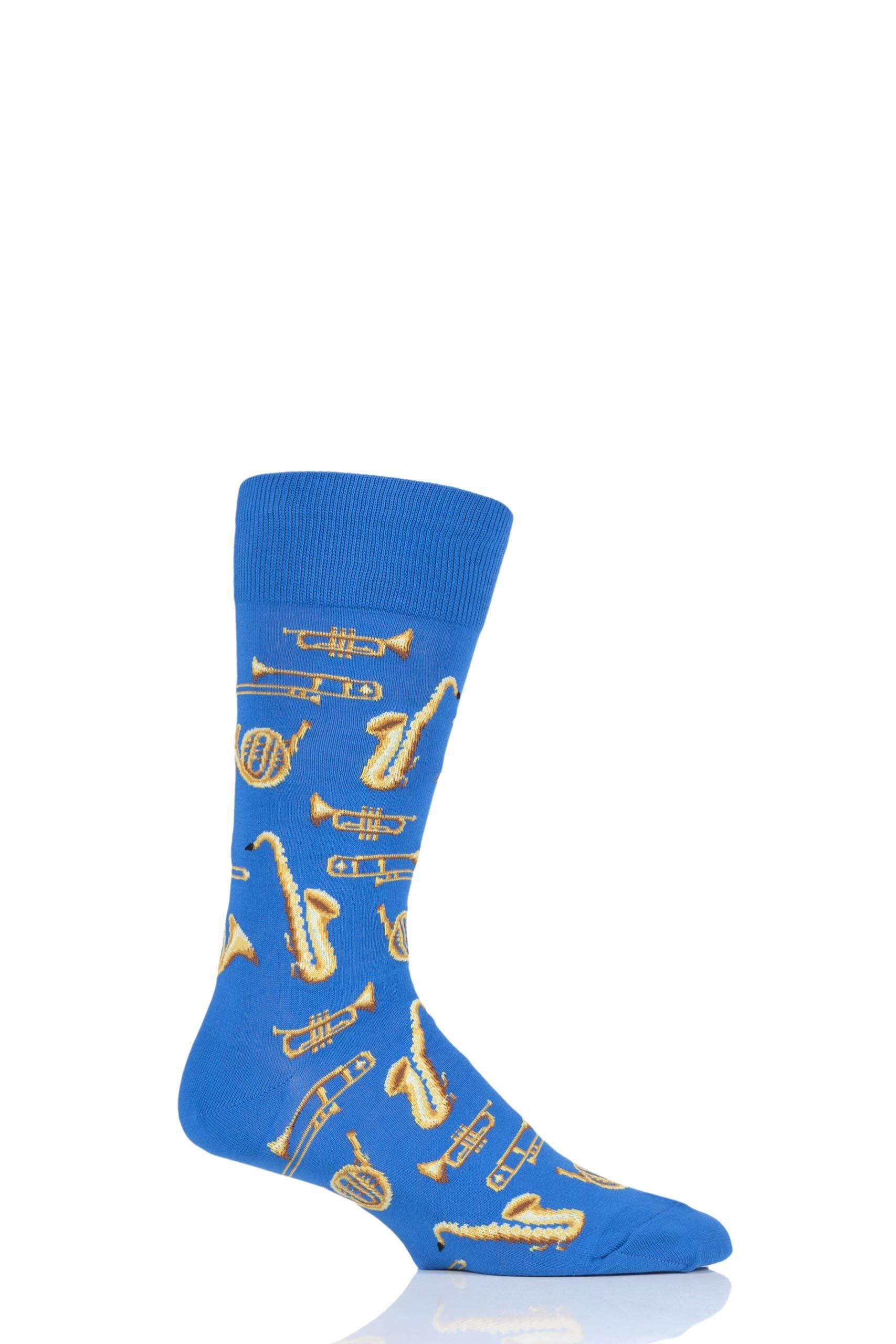 Image of 1 Pair Blue HotSox All Over Brass Instruments Cotton Socks Men's 8-12 Mens - Hot Sox
