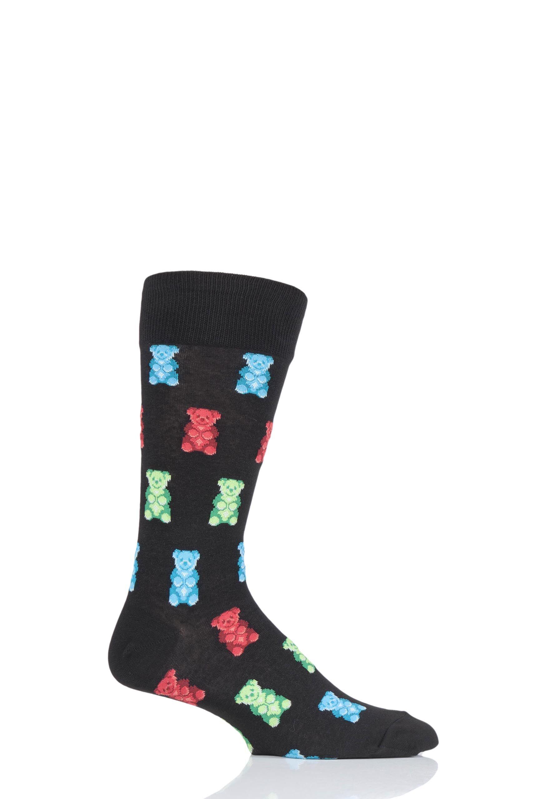 Image of 1 Pair Black HotSox All Over Gummy Bears Cotton Socks Men's 8-12 Mens - Hot Sox