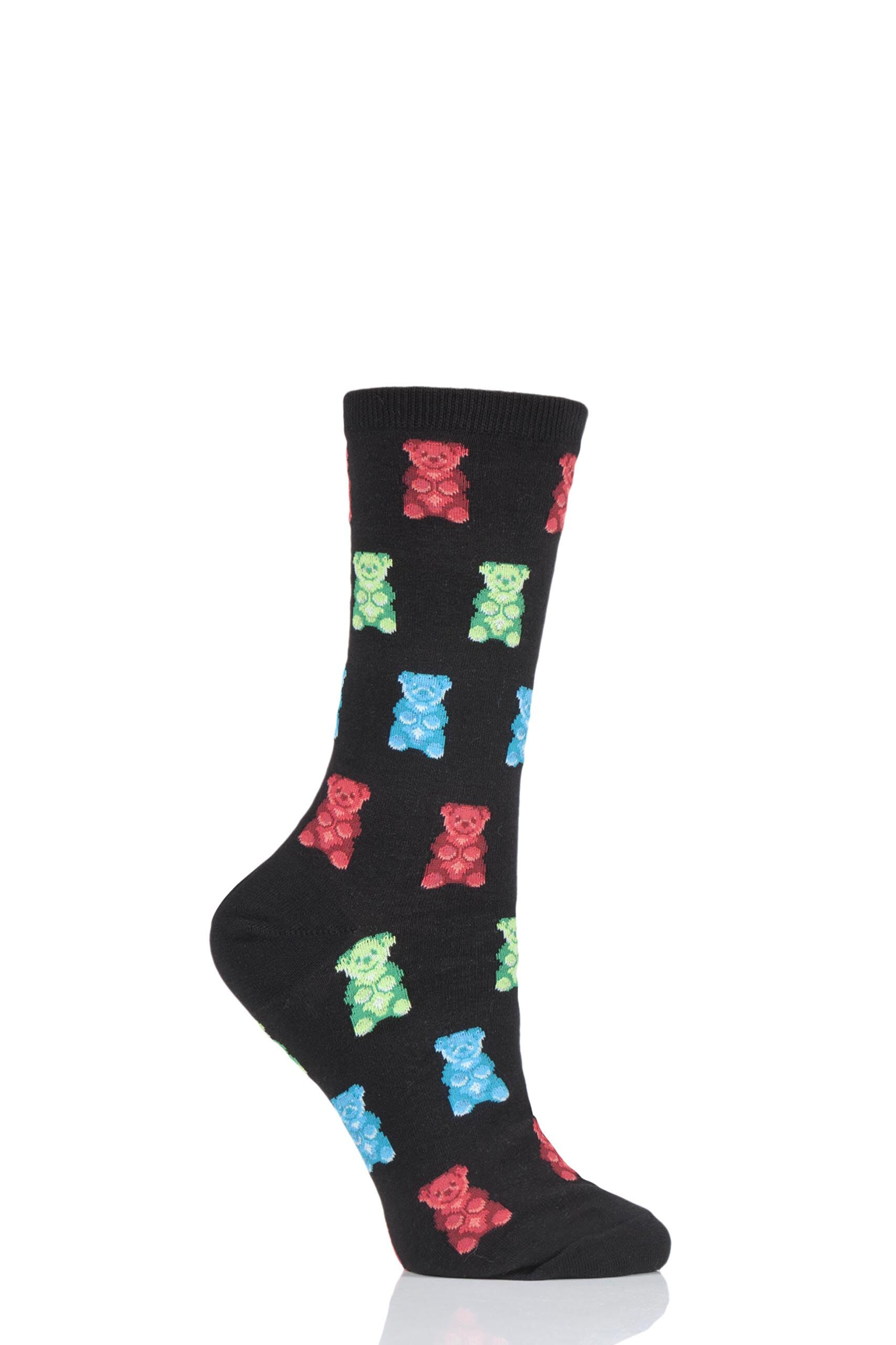 Image of 1 Pair Black HotSox All Over Gummy Bears Cotton Socks Ladies 4-9 Ladies - Hot Sox