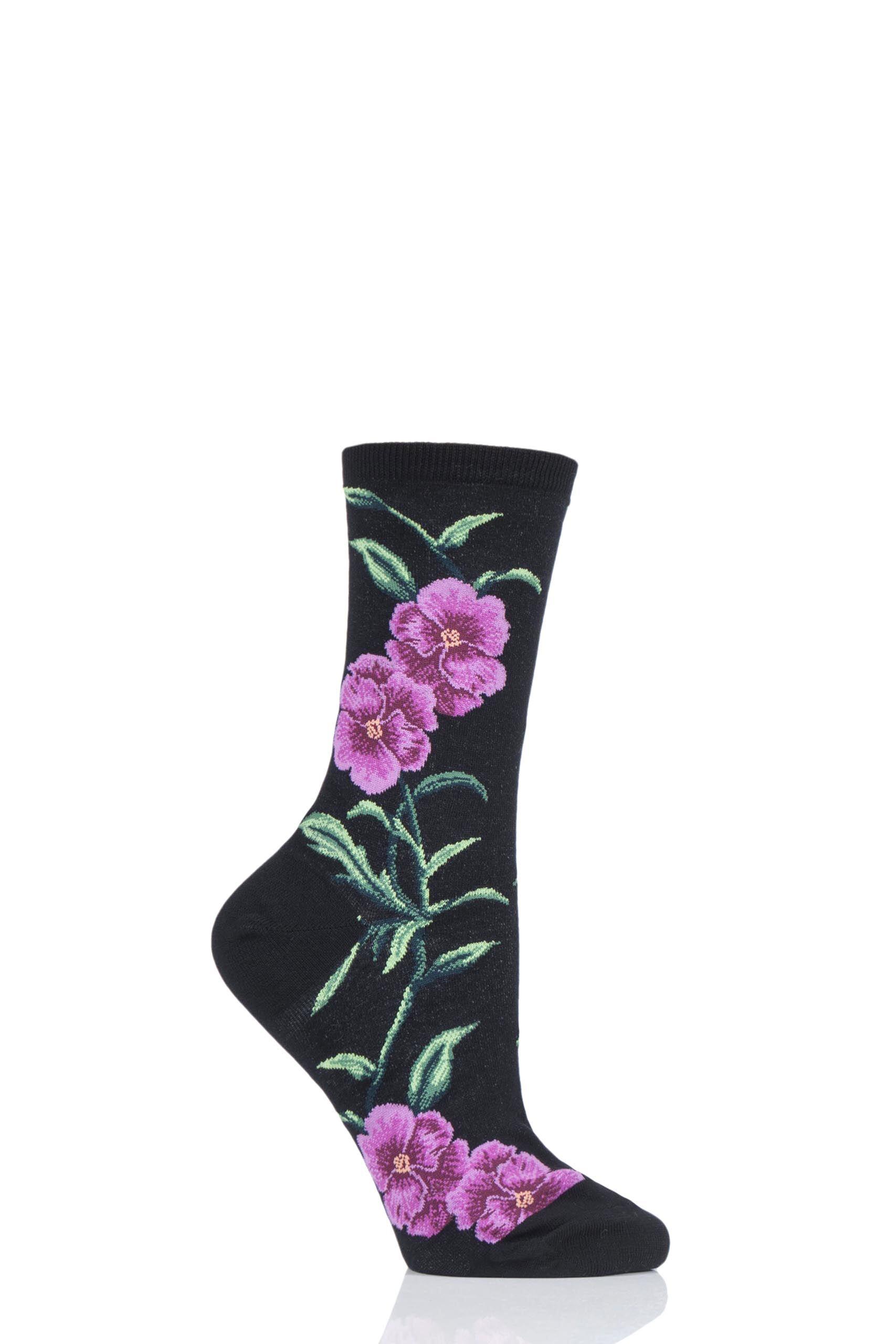Image of 1 Pair Black HotSox Pansies All Over Flower Cotton Socks Ladies 4-9 Ladies - Hot Sox