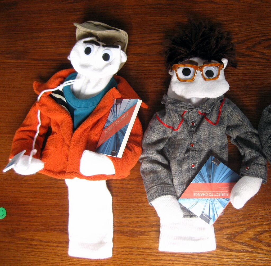 Two sock hand puppets