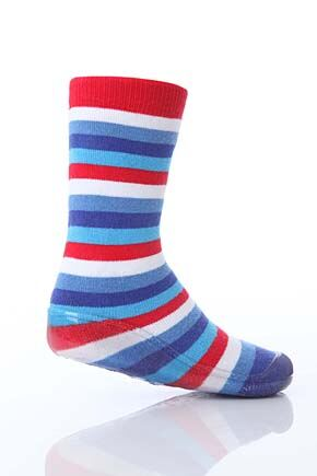 Boys 1 Pair SockShop Striped Gripper Slipper Socks Blue 4.5 5.5
