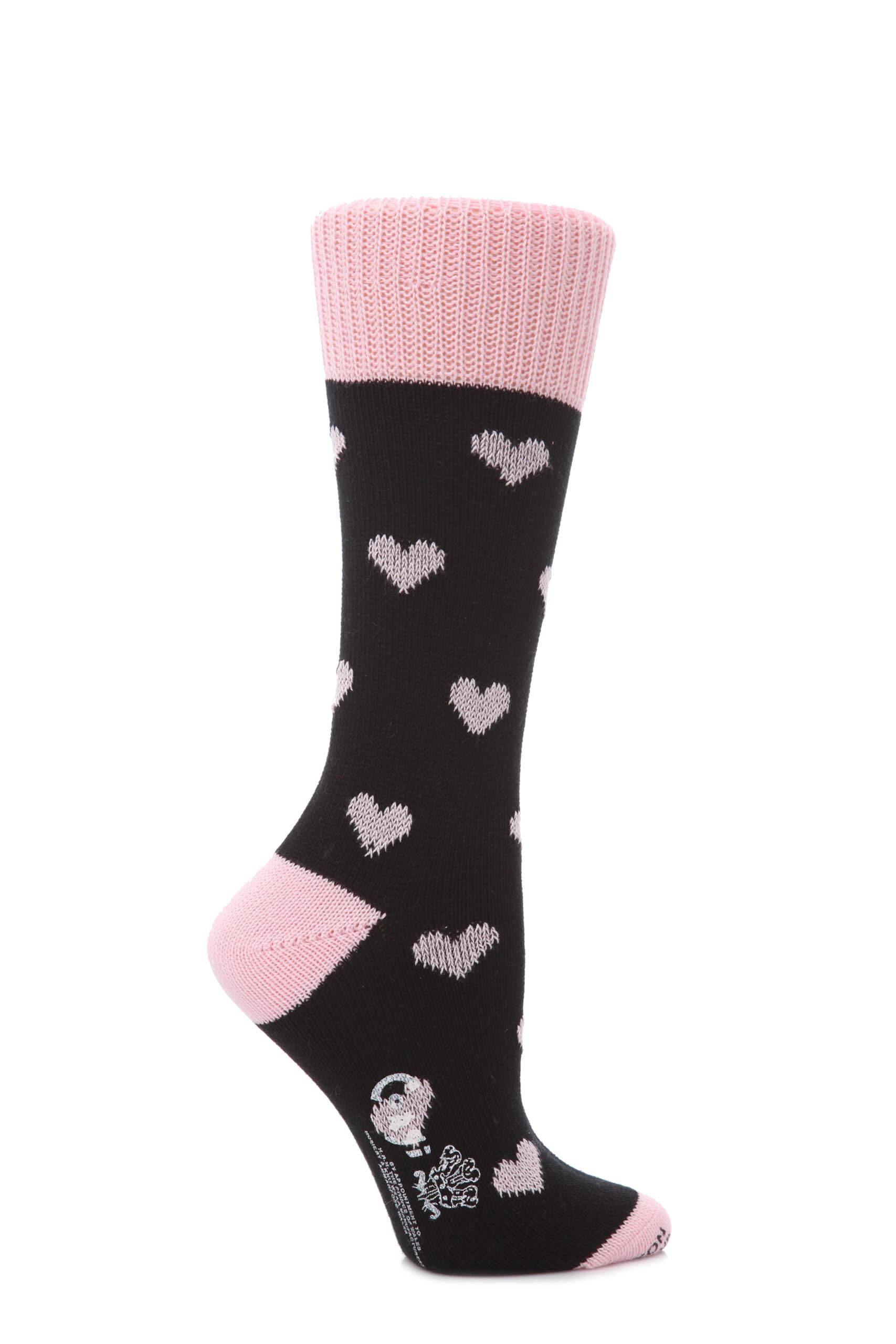 Image of 1 Pair Black 100% Cotton Hearts Socks Ladies 4-8 Ladies - Corgi