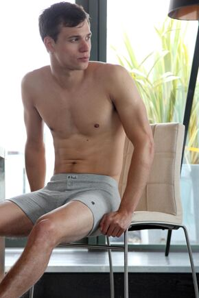 Mens 1 Pack Pringle Button Fly Cotton Fitted Boxer Shorts In 3 Colours Grey