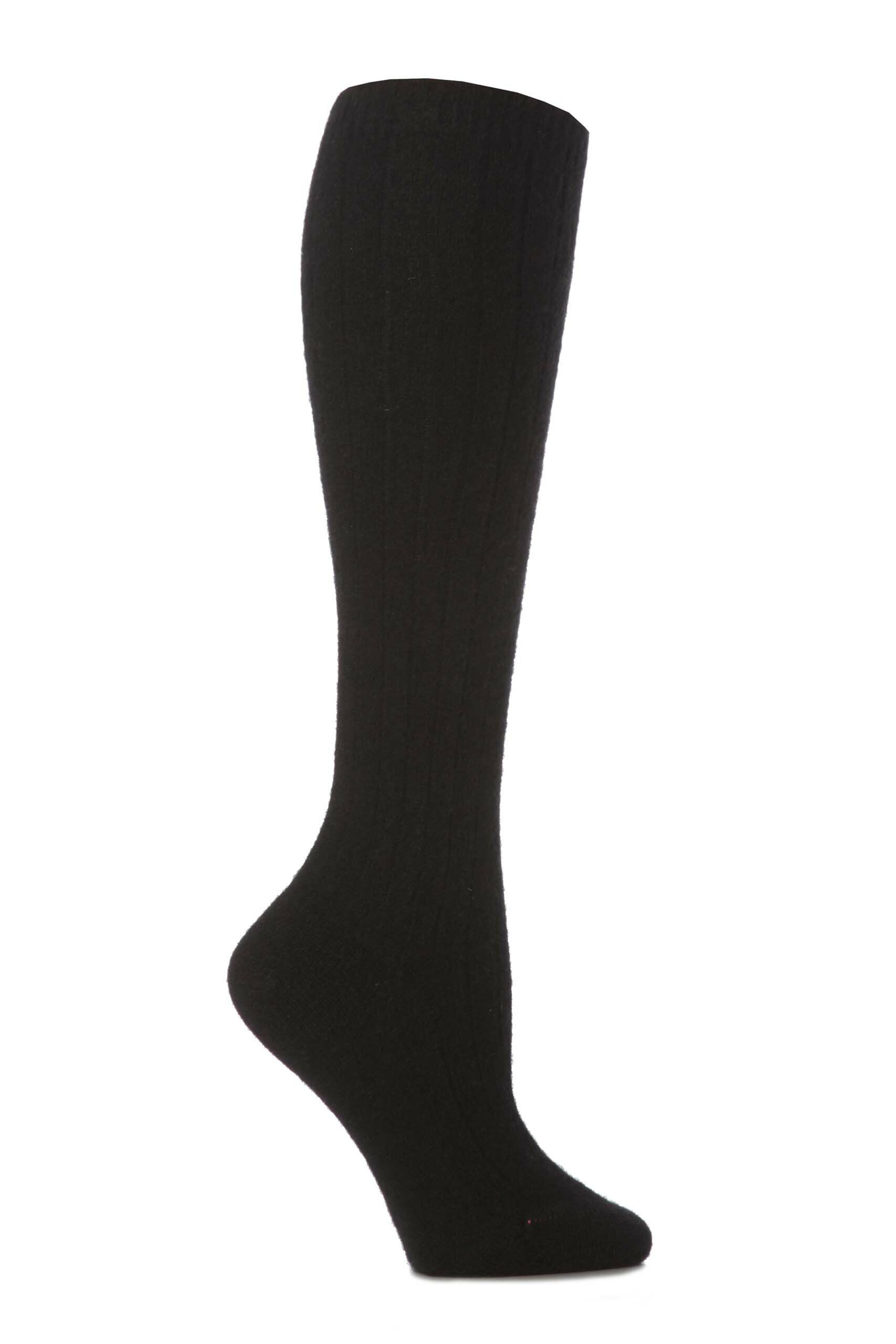 Image of 1 Pair Black 85% Cashmere Rib Knee High Ladies 4-7 Ladies - Pantherella