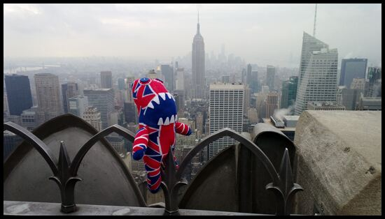 SockMonster Jack and the New York skyline