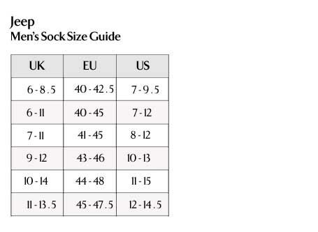 Jeep - Men's Socks Size Guide