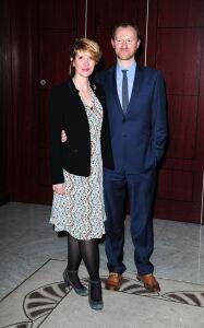 Julia Davis wears patterned tights