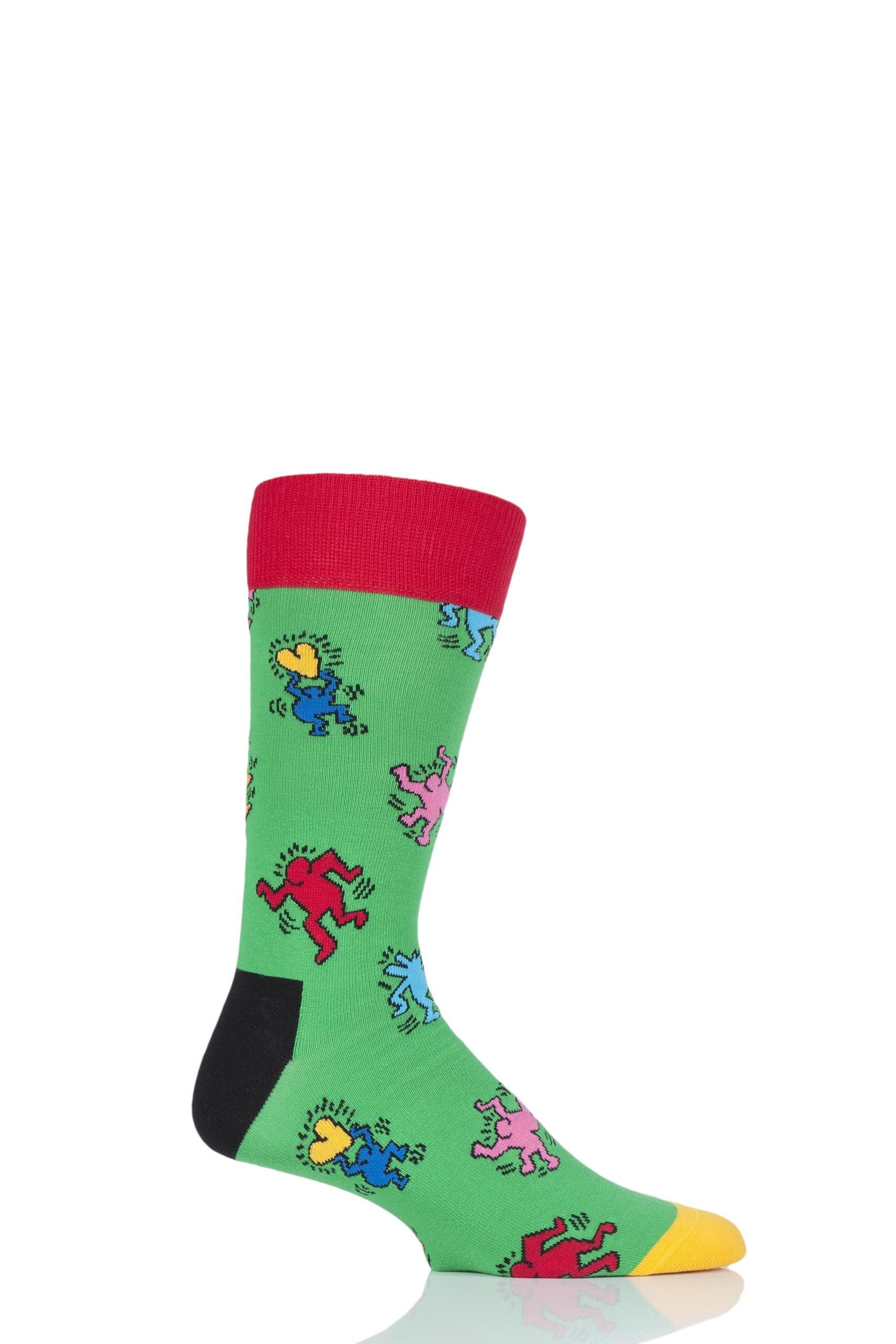 Image of 1 Pair Assorted Keith Haring Dancing Socks Unisex 7.5-11.5 Unisex - Happy Socks