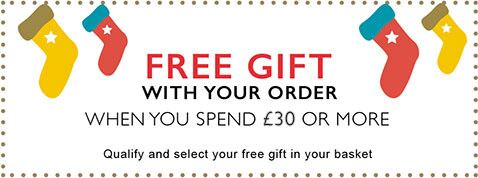 FREE GIFT when you £30 or more