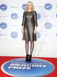 Lauren Laverne models grey tights