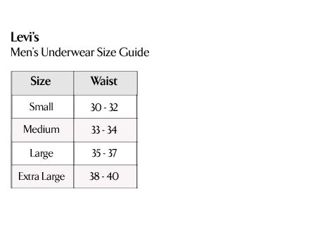 Levi's Men's Underwear Size Guide