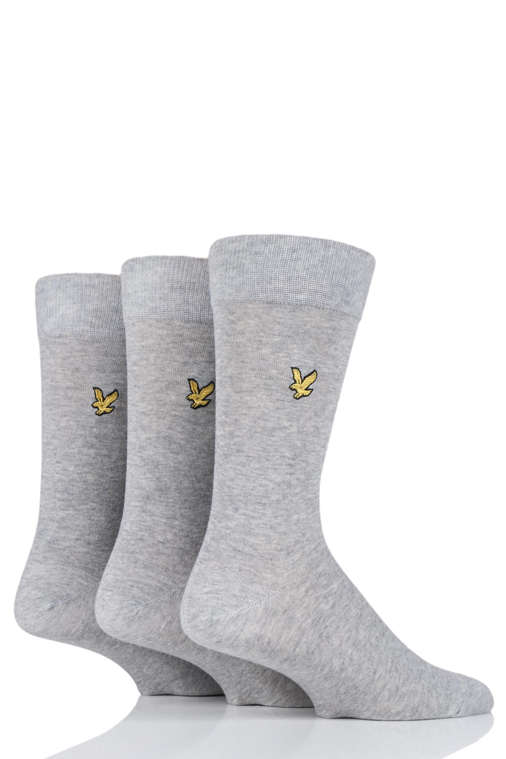 Image of 3 Pair Grey Angus Eagle Embroidery Cotton Socks Men's 7-11 Mens - Lyle & Scott