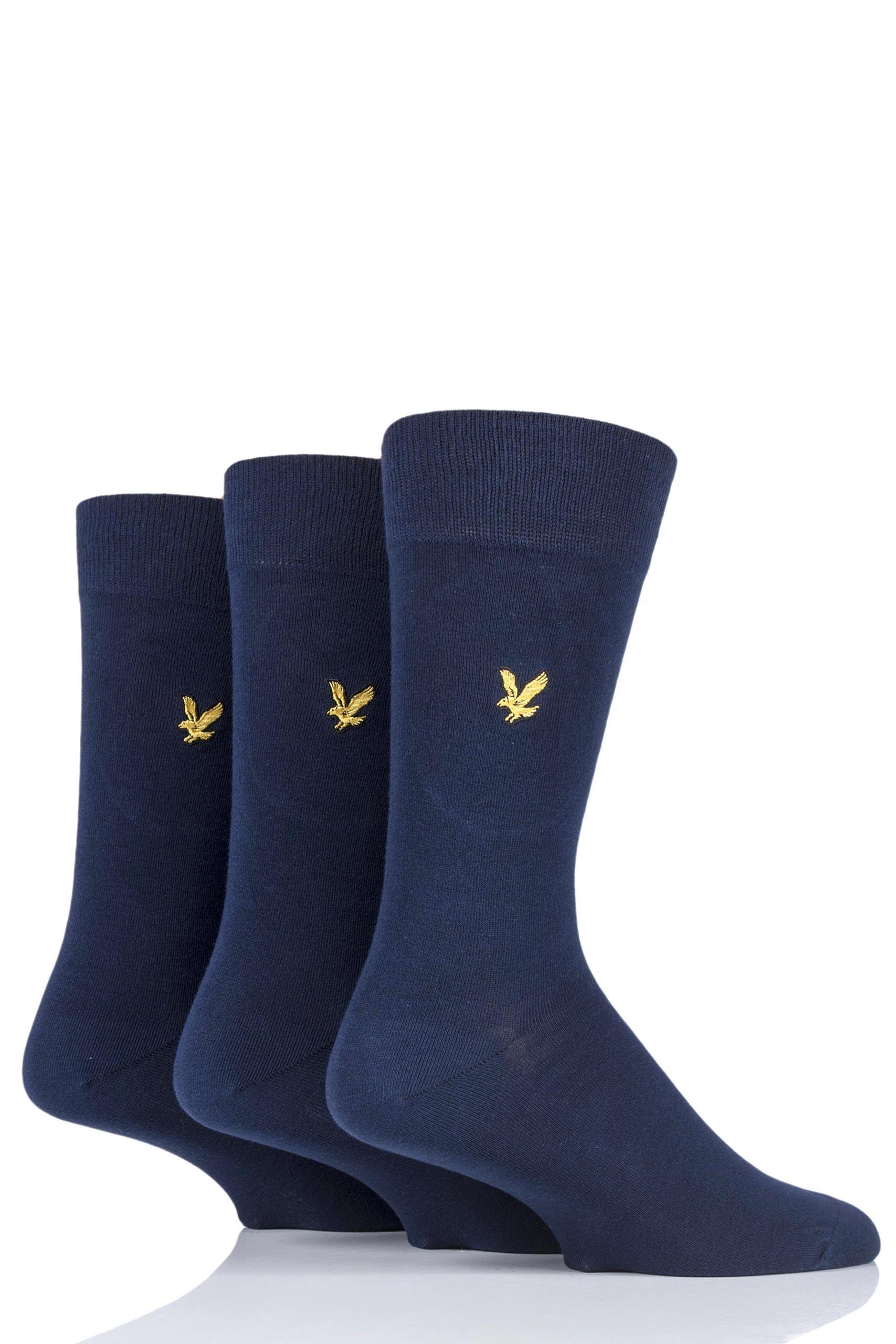 Image of 3 Pair Peacoat Angus Eagle Embroidery Cotton Socks Men's 7-11 Mens - Lyle & Scott