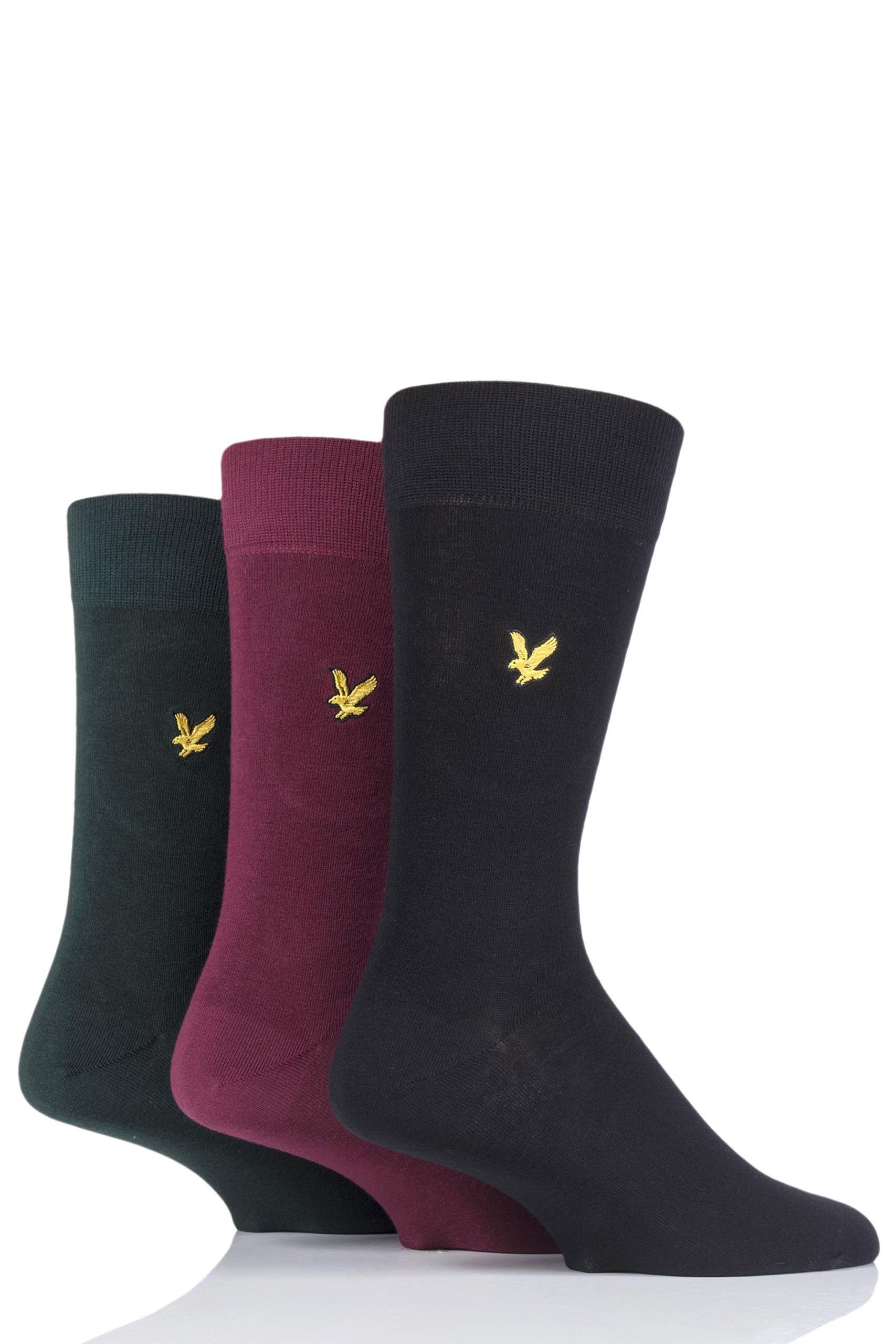 Image of 3 Pair Black Mix Angus Eagle Embroidery Cotton Socks Men's 7-11 Mens - Lyle & Scott