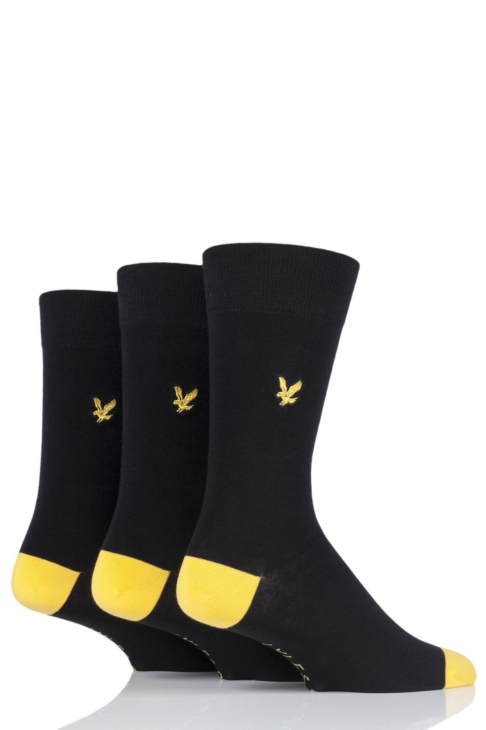 Image of 3 Pair Black Kennedy Contrast Heel and Toe Cotton Socks Men's 7-11 Mens - Lyle & Scott