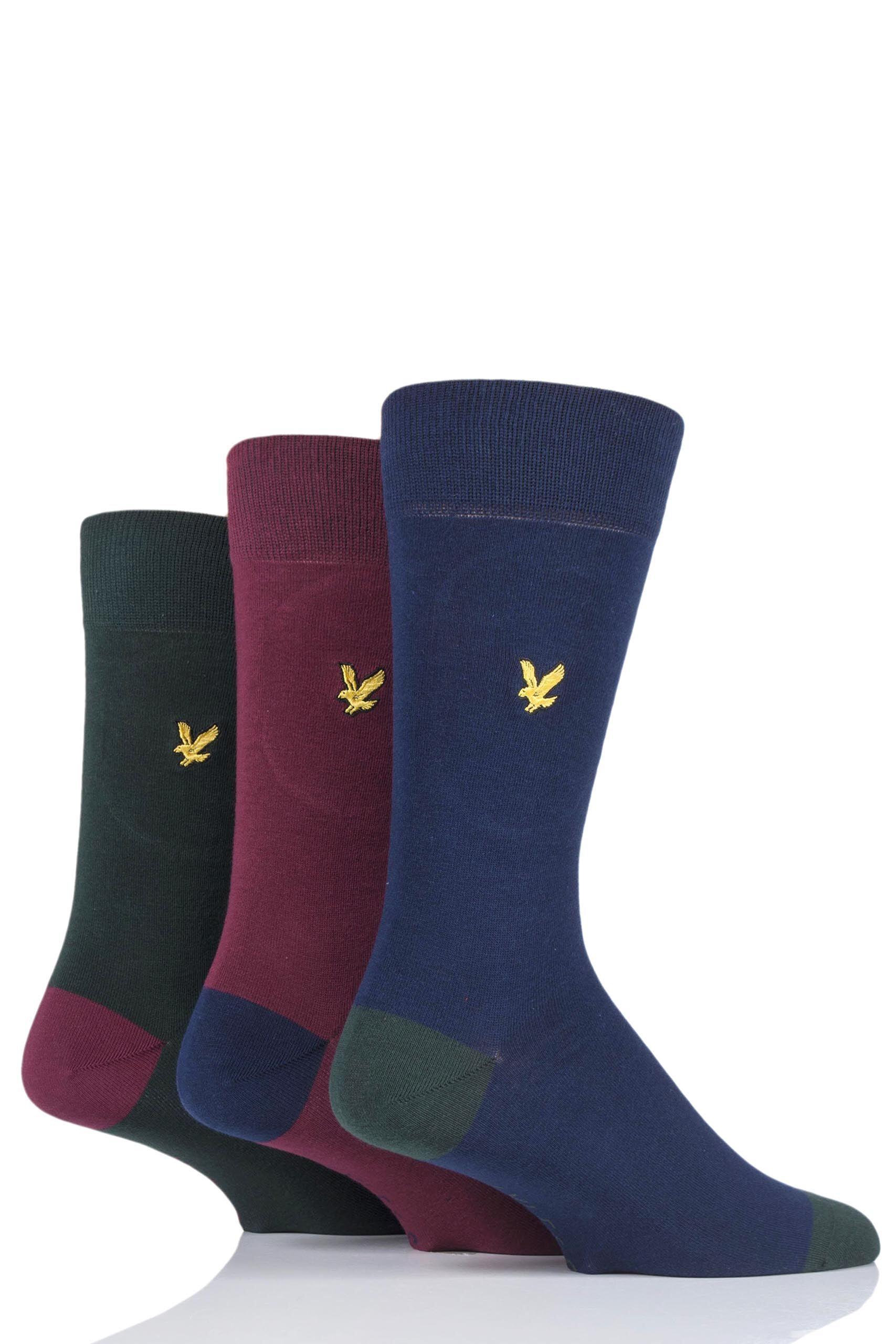 Image of 3 Pair Pine Kennedy Contrast Heel and Toe Cotton Socks Men's 7-11 Mens - Lyle & Scott