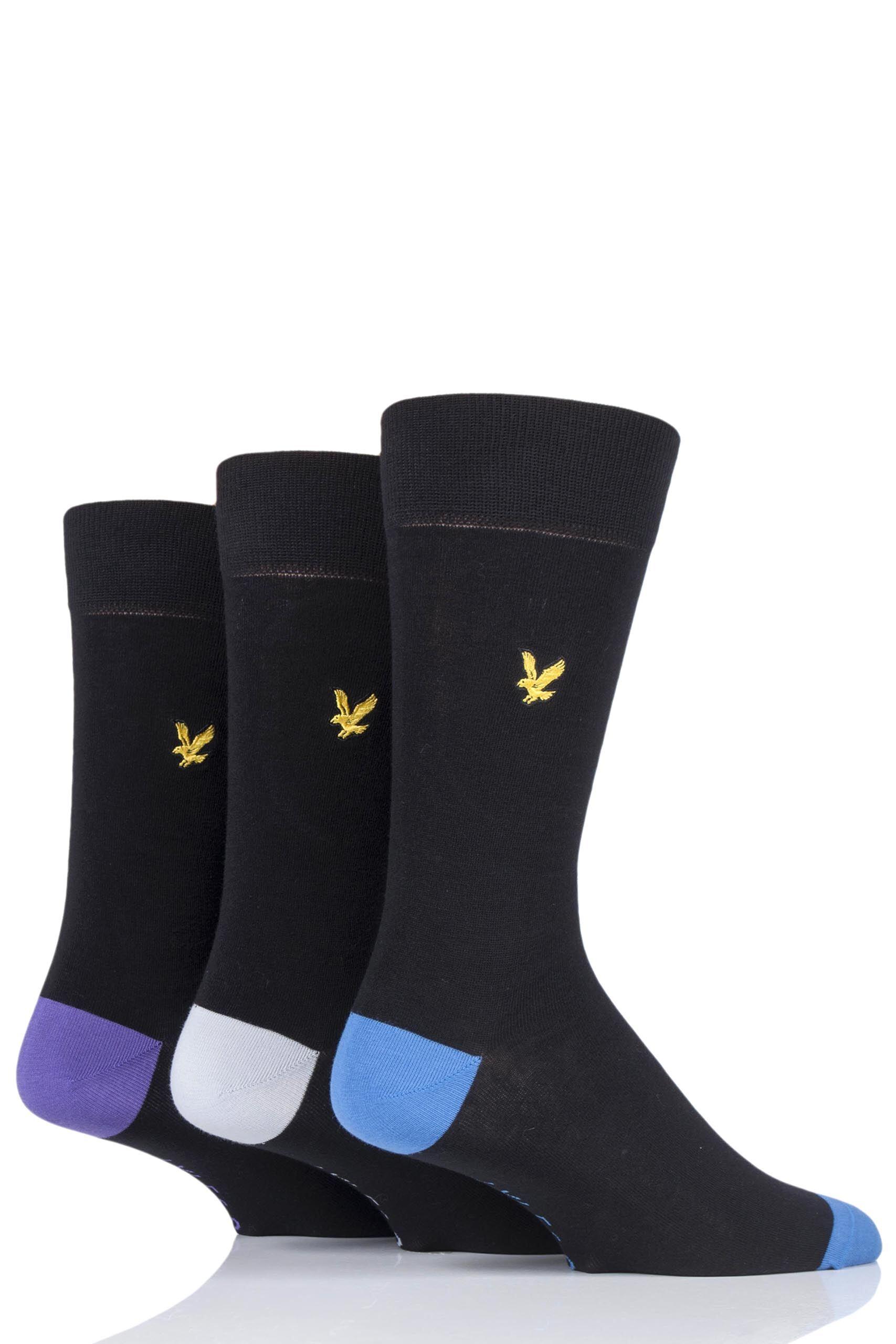 Image of 3 Pair Black / Grey Kennedy Contrast Heel and Toe Cotton Socks Men's 7-11 Mens - Lyle & Scott
