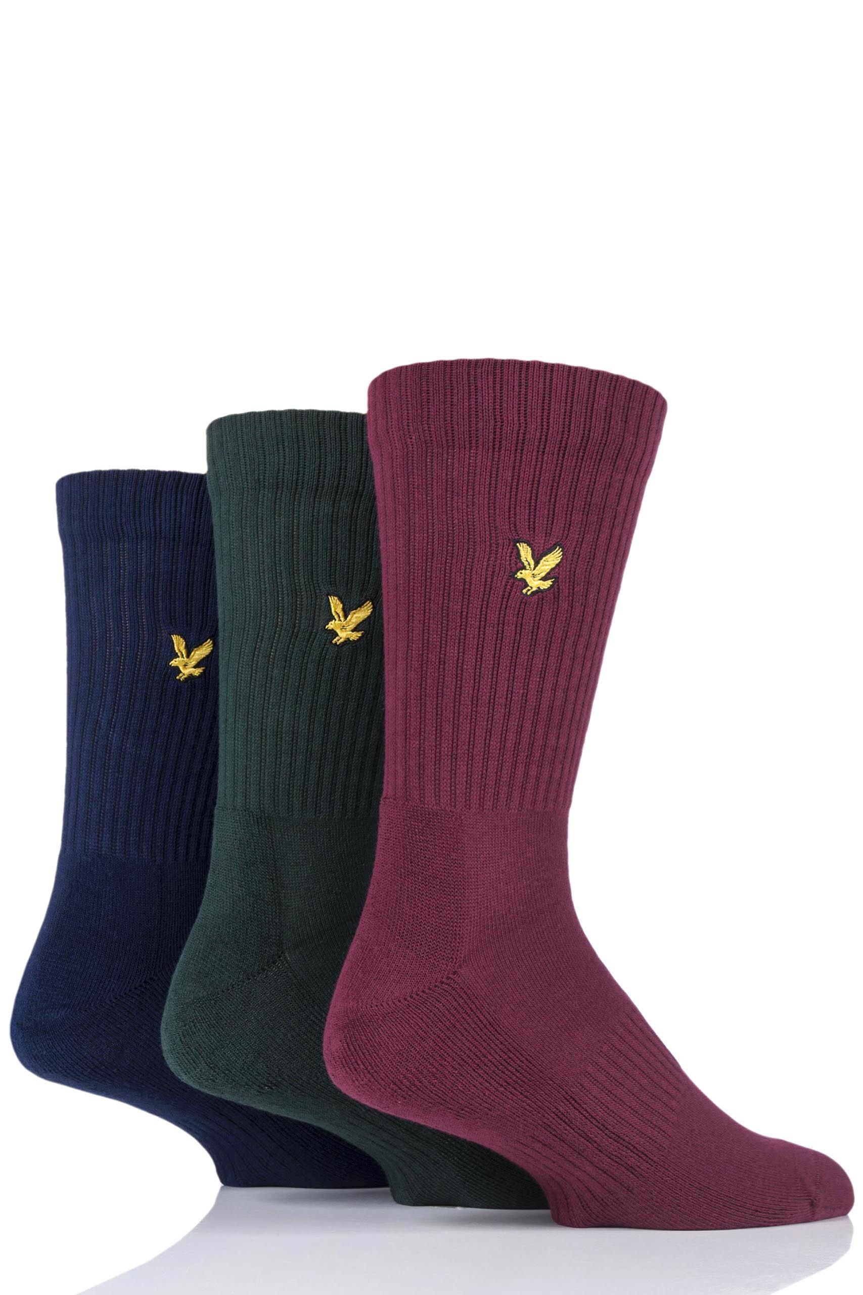 Image of 3 Pair Pine Hamilton Plain Cotton Sports Socks Men's 7-11 Mens - Lyle & Scott