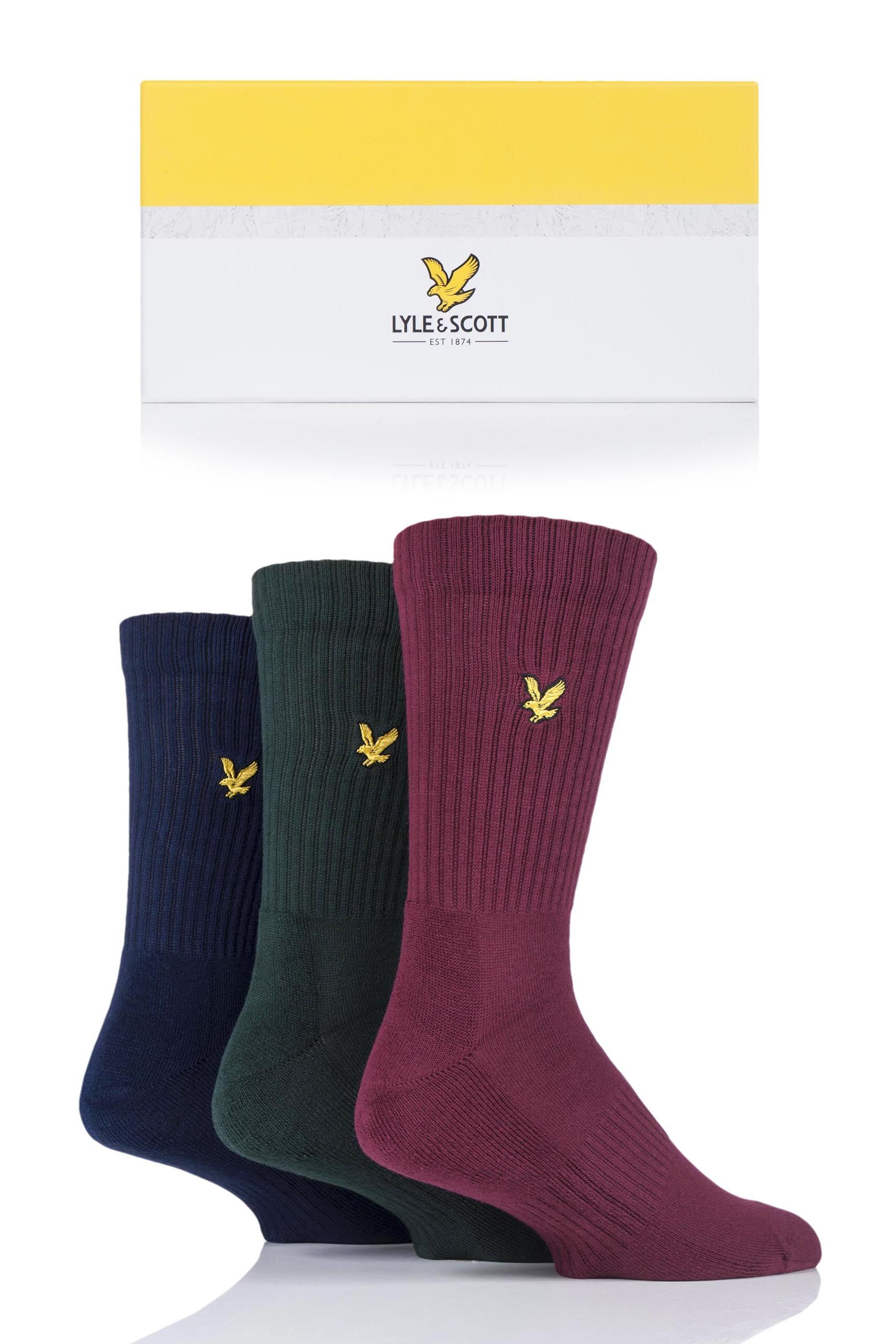 Image of 3 Pair Finlay Finlay Gift Boxed Cotton Socks Men's 7-11 Mens - Lyle & Scott