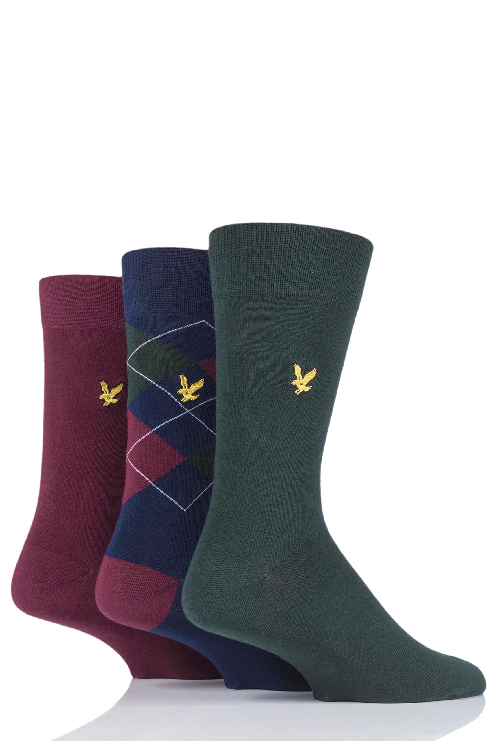 Image of 3 Pair Pine Hewie Argyle Cotton Socks Men's 7-11 Mens - Lyle & Scott
