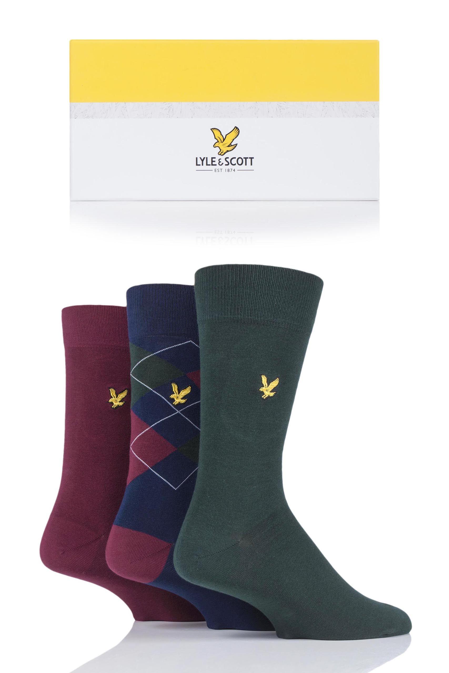 Image of 3 Pair Rory Rory Gift Boxed Cotton Socks Men's 7-11 Mens - Lyle & Scott