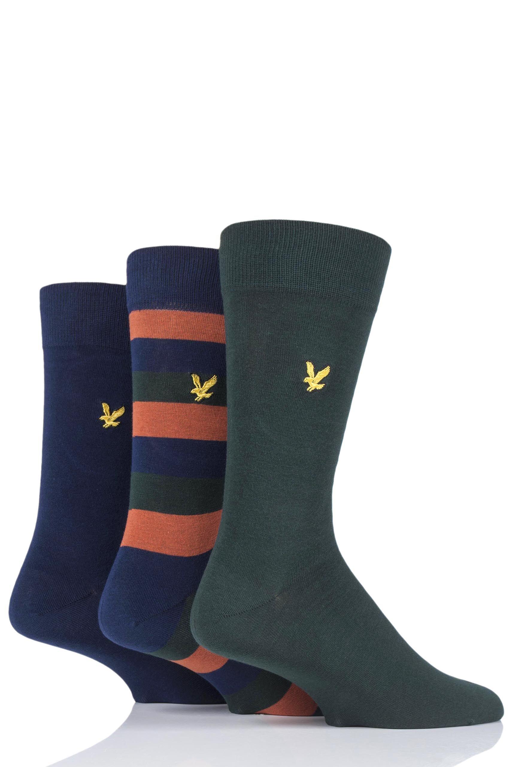 Image of 3 Pair Pine Scotty Striped Cotton Socks Men's 7-11 Mens - Lyle & Scott