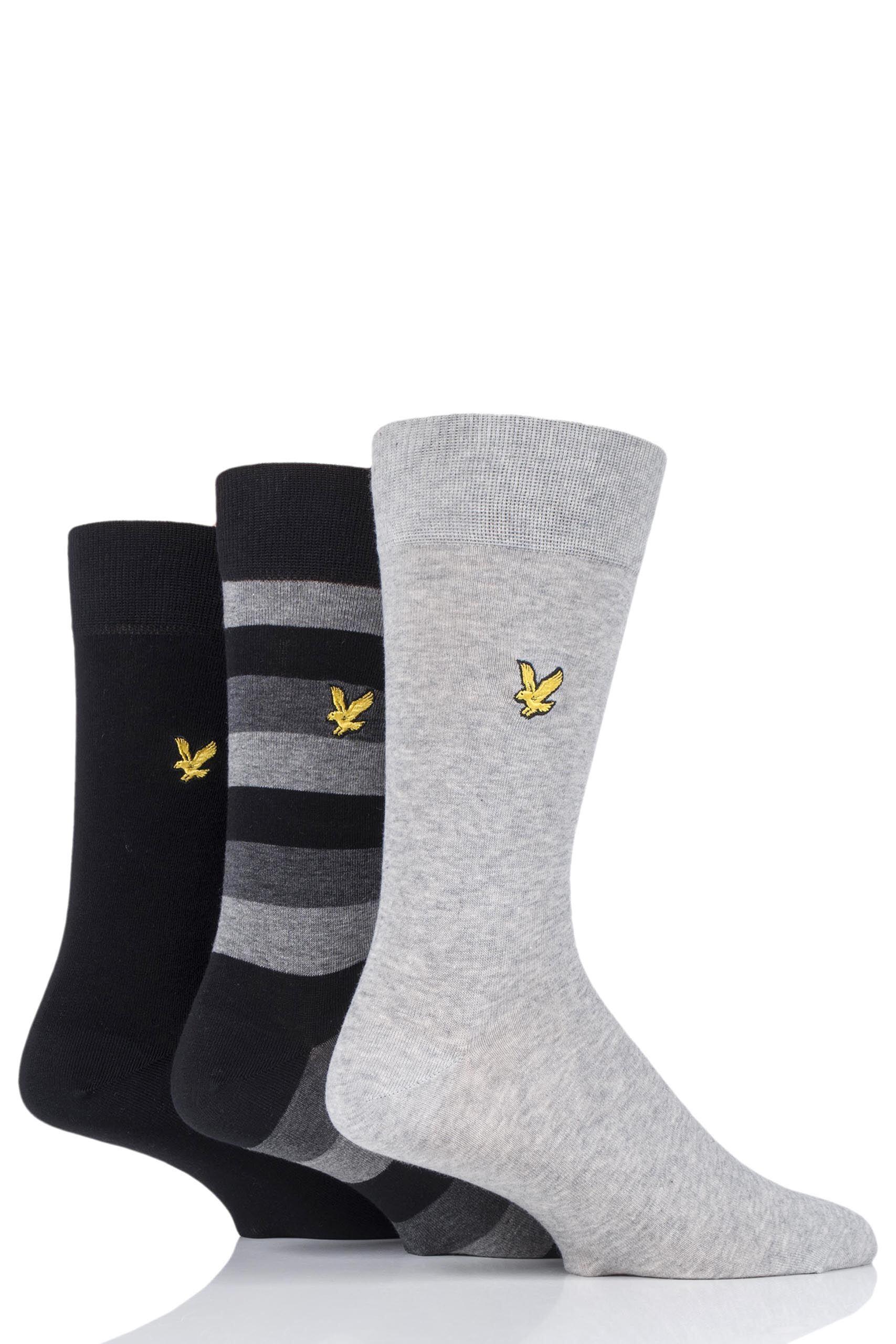 Image of 3 Pair Black Scotty Striped Cotton Socks Men's 7-11 Mens - Lyle & Scott