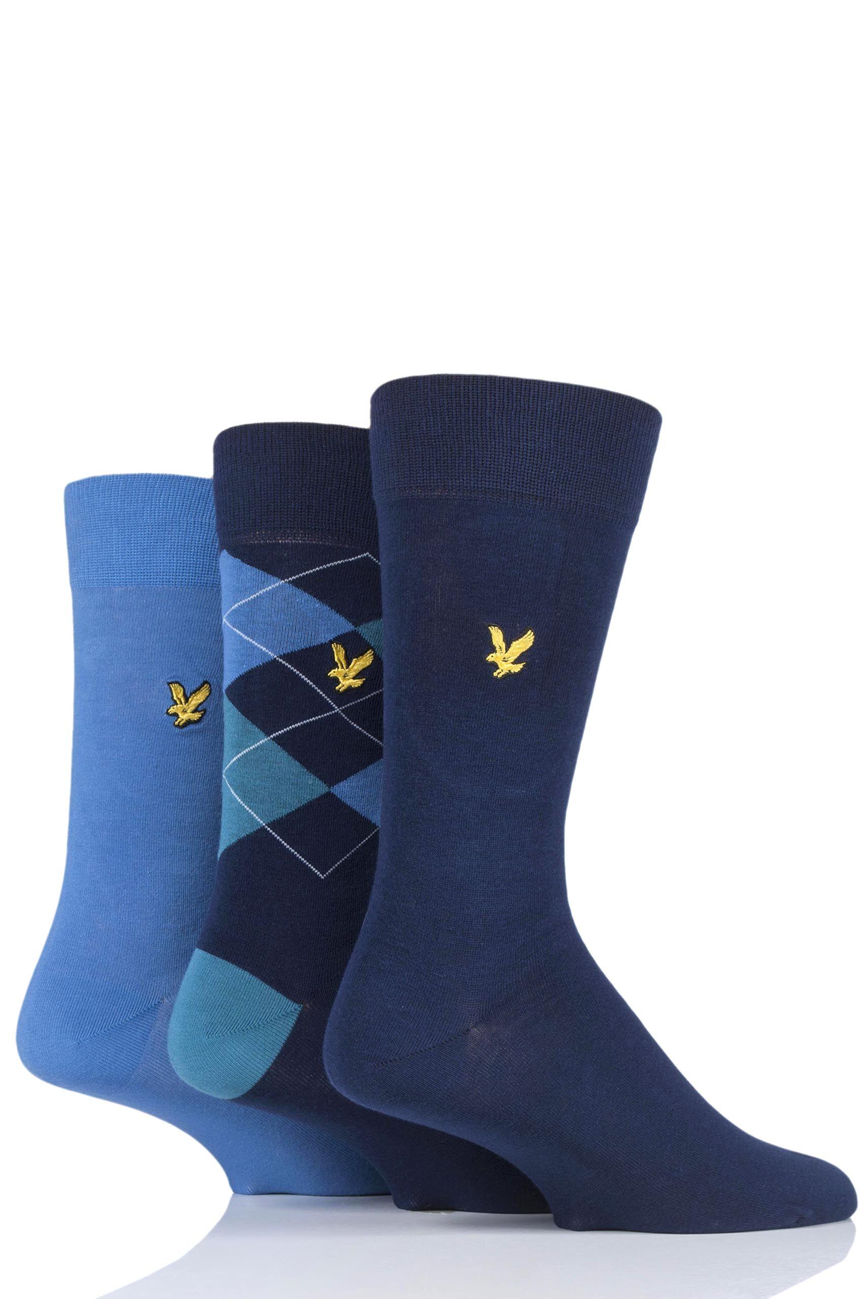 Image of 3 Pair Blue Hewie Argyle Cotton Socks Men's 7-11 Mens - Lyle & Scott