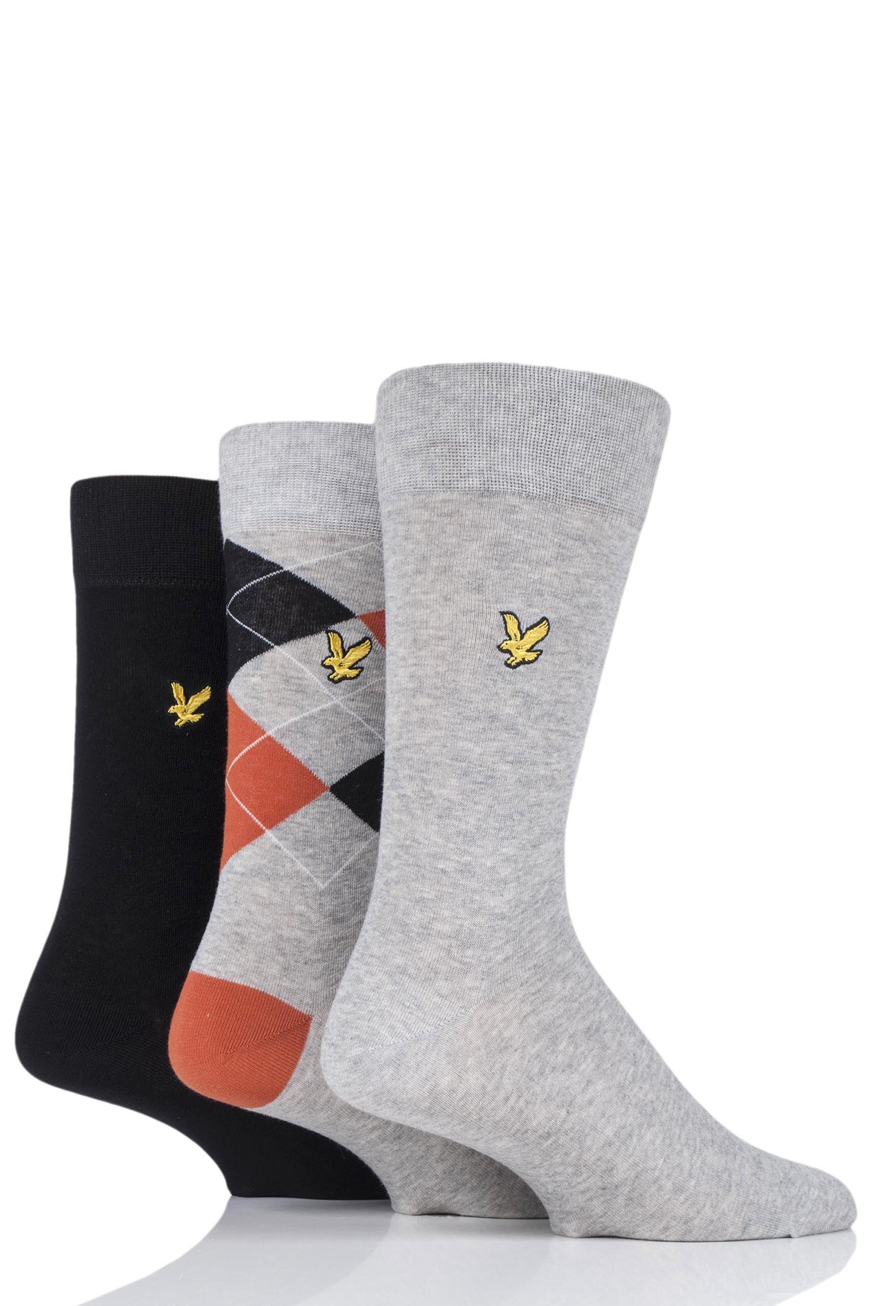 Image of 3 Pair Black Hewie Argyle Cotton Socks Men's 7-11 Mens - Lyle & Scott