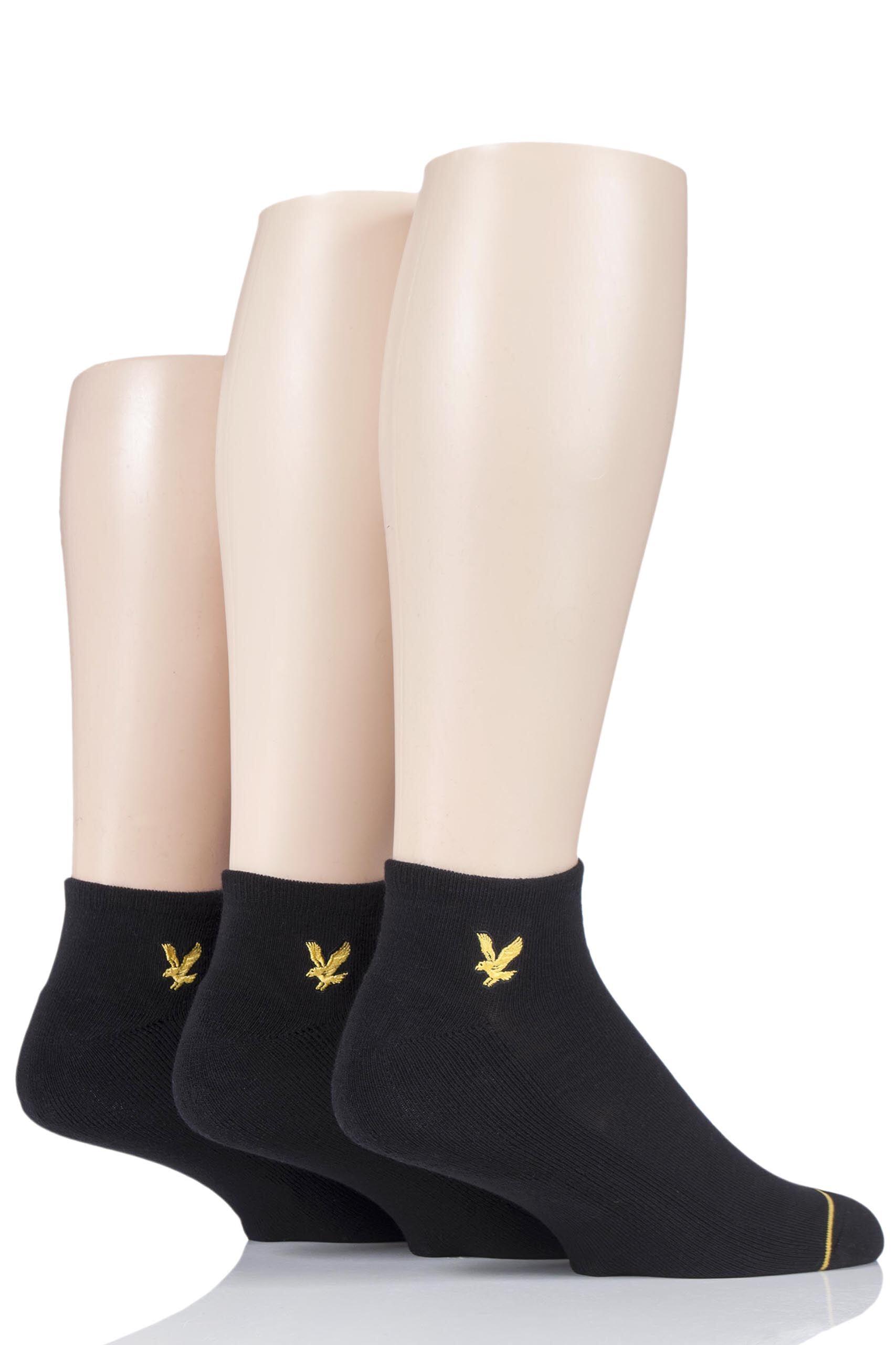 Image of 3 Pair Black Ross Plain Cotton Trainer Socks Men's 7-11 Mens - Lyle & Scott